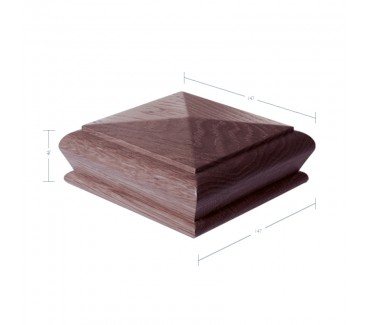 American Black Walnut Pyramid Newel Post Cap to suit 117mm x 117mm Newel Post - 920mm