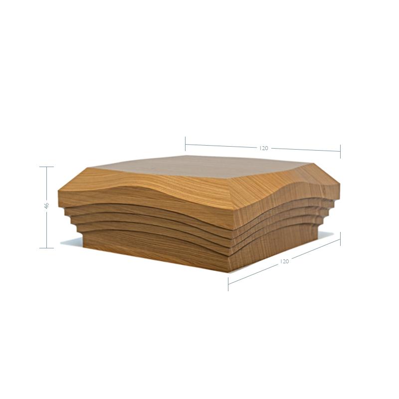 Oak Contour Cap No. 1. Step - To suit 90mm x 90mm Newel Post
