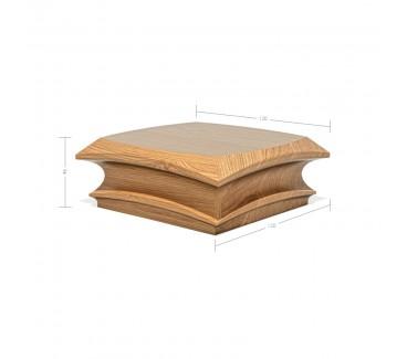 Oak Contour Cap No. 2. Deep Profile - To suit 90mm x 90mm Newel Post