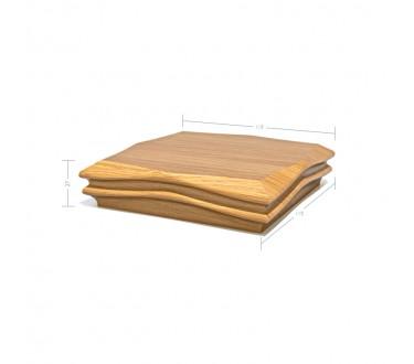 Oak Contour Cap No. 3. Shallow Profile - To suit 90mm x 90mm Newel Post