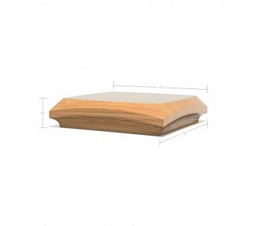 Oak Contour Cap No. 4. Simple Curve - To suit 90mm x 90mm Newel Post
