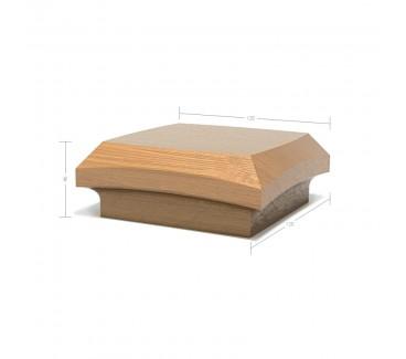 Oak Contour Cap No. 5. Simple Curve Deep - To suit 90mm x 90mm Newel Post