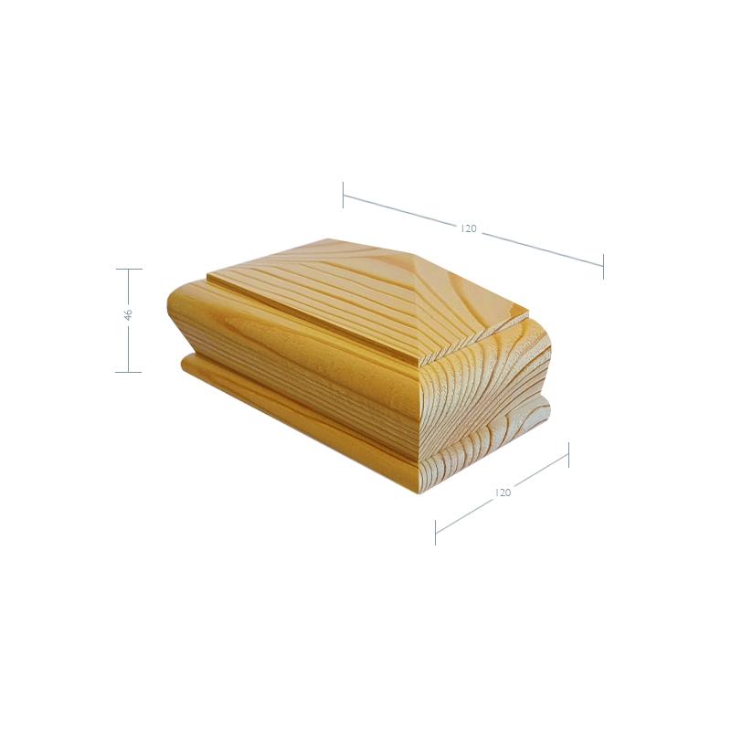 Pine Pyramid Half Newel Post Cap to suit 90mm x 45mm Newel Post